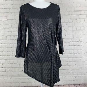 Vince Camuto Black Gathered Asymmetrical Top Med